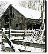 Snow Covered Barn Canvas Print by Kimberleigh Ladd