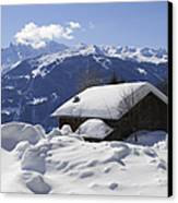 Snow-covered House In The Mountains In Winter Canvas Print by Matthias Hauser