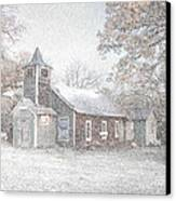 Snow Fall Old Church Canvas Print by Cindy Rubin
