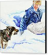 Snow Play Sadie And Andrew Canvas Print by Carolyn Coffey Wallace