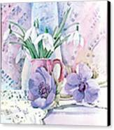 Snowdrops And Anemones Canvas Print