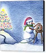 Snowman's X'mas Canvas Print by Keiko Katsuta