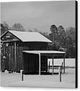 Snowy Barn Bw Canvas Print by Nelson Watkins