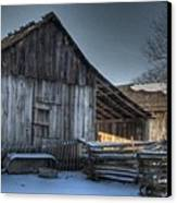Snowy Barn Canvas Print by Jane Linders