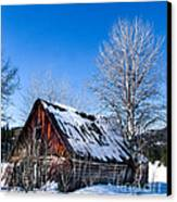 Snowy Cabin Canvas Print by Robert Bales