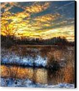 Snowy Dawn At South Ore Creek Canvas Print by Jenny Ellen Photography
