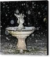 Snowy Fountain Canvas Print