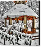 Snowy Gazebo - Greensboro North Carolina I Canvas Print by Dan Carmichael