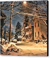 snowy night in Northampton Canvas Print by HD Connelly
