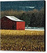 Snowy Red Barn In Winter Canvas Print by Lois Bryan