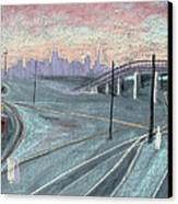 Soft Sunset Over San Francisco And Oakland Train Tracks Canvas Print