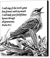 Songbird Drawing With Scripture Canvas Print