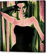 Sophia Loren - Pink Pop Art Canvas Print