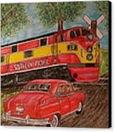 Southern Pacific Train 1951 Kaiser Frazer Car Rr Crossing Canvas Print