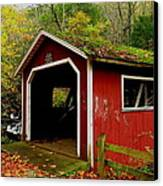 Southford Falls Covered Bridge And Waterfall Canvas Print