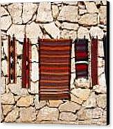 Souvenir Rugs For Sale At Wadi Mujib Jordan Canvas Print by Robert Preston