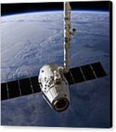 Spacex Dragon Capsule At The Iss Canvas Print