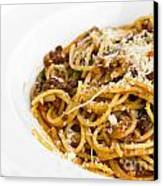 Spaghetti Noodles With Meat Sauce Canvas Print by Tosporn Preede