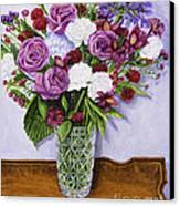 Special Bouquet In Crystal Vase On Heirloom Table Canvas Print