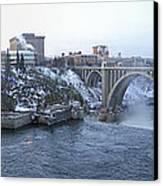 Spokane City Skyline On A Frigid Morning Canvas Print