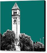 Spokane Skyline Clock Tower - Sea Green Canvas Print by DB Artist