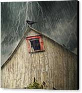 Spooky Old Barn With Crows On A Stormy Night Canvas Print by Sandra Cunningham