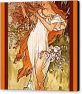 Spring Canvas Print by Alphonse Maria Mucha