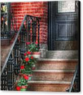 Spring - Porch - Hoboken Nj - Geraniums On Stairs Canvas Print by Mike Savad