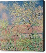Springtime At Giverny Canvas Print by Claude Monet