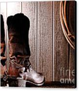 Spurs On Cowboy Boots Heels Canvas Print