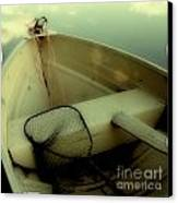 Square Polaroid Fishing Boat Canvas Print