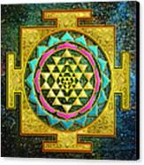 Sri Yantra Gold And Stars Canvas Print by Lila Shravani