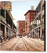 St Charles Street New Orleans 1900 Canvas Print by Unknown