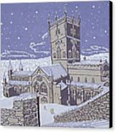 St David S Cathedral In The Snow Canvas Print by Huw S Parsons