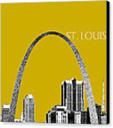 St Louis Skyline Gateway Arch - Gold Canvas Print