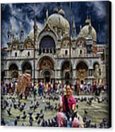 St Mark's Basilica - Feeding The Pigeons Canvas Print by Lee Dos Santos
