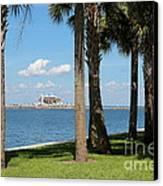 St Pete Pier Through Palm Trees Canvas Print by Carol Groenen