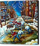 St Urbain Street Boys Playing Hockey Canvas Print