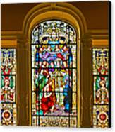 Stained Glass Window Cathedral St Augustine Canvas Print by Christine Till