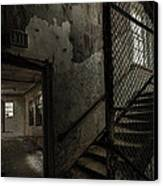 Stairs And Corridor Inside An Abandoned Asylum Canvas Print by Gary Heller