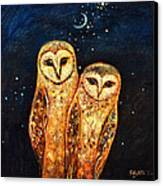 Starlight Owls Canvas Print by Shijun Munns