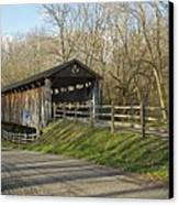 State Line Or Bebb Park Covered Bridge Canvas Print by Jack R Perry