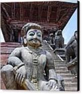 Statue At The Nyatapola Temple At Bhaktapur In Nepal Canvas Print by Robert Preston