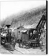 Steam Locomotive And Steam Shovel 1882 Canvas Print by Daniel Hagerman