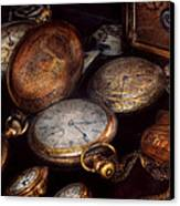 Steampunk - Clock - Time Worn Canvas Print by Mike Savad