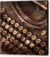 Steampunk - Typewriter - Too Tuckered To Type Canvas Print by Mike Savad