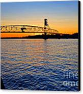 Steel Bridge Silk Water Canvas Print by Olivier Le Queinec