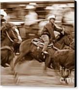 Steer Roping Canvas Print by Bill Keiran