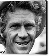 Steve Mcqueen Smiling With Hat Canvas Print by Retro Images Archive
