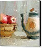 Still Life Apples And Tea Pot Canvas Print by Yury Malkov